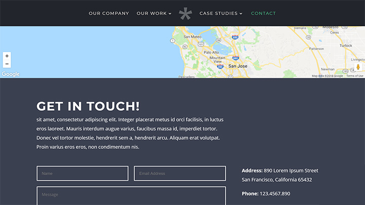 Contact Page with Form and Map