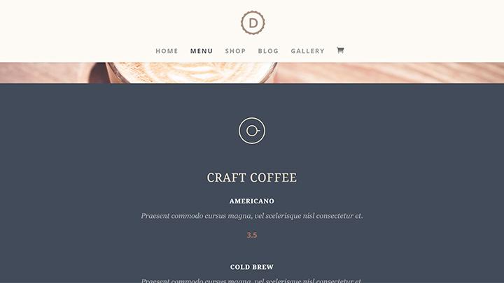 WordPress Cafe Menu Page