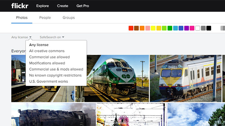 Flickr Free Photo License Dropdown