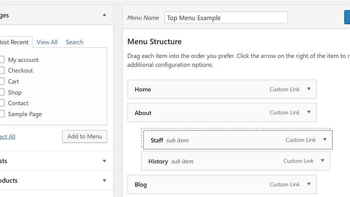 Sub Items in WordPress Navigation Menus