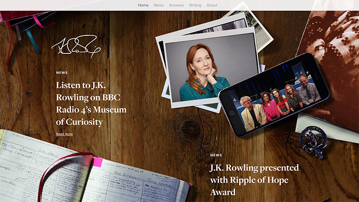 Author J.K. Rowling WordPress Website