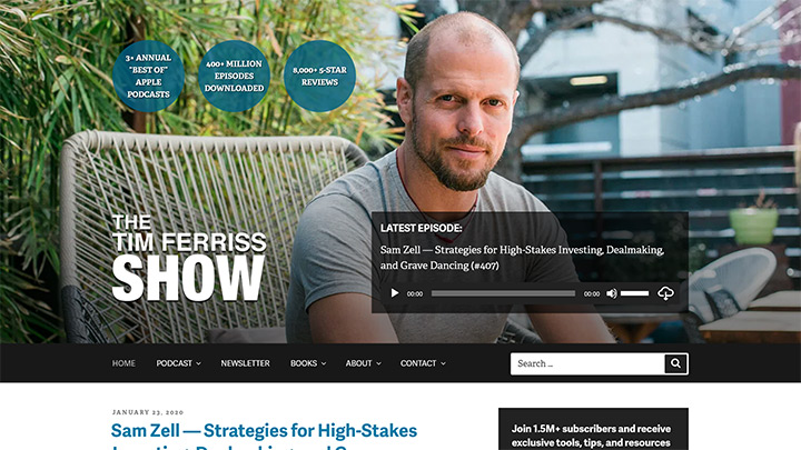 Author Tim Ferriss WordPress Website