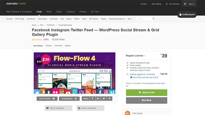 Flow-Flow Social Stream CodeCanyon Listing