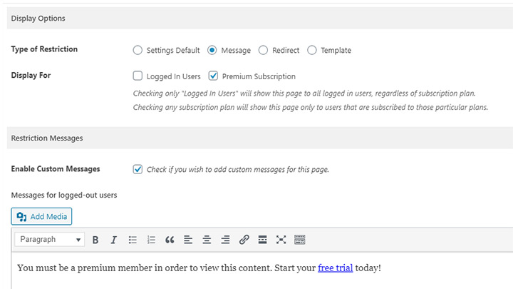 WordPress Paid Member Subscription Editor Fields