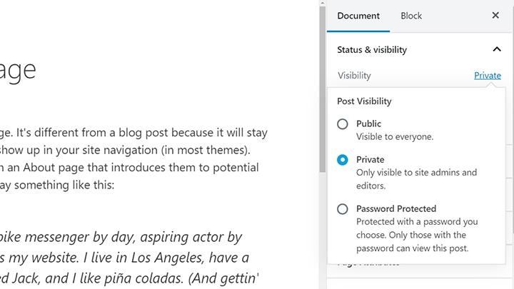 Make WordPress Page Private