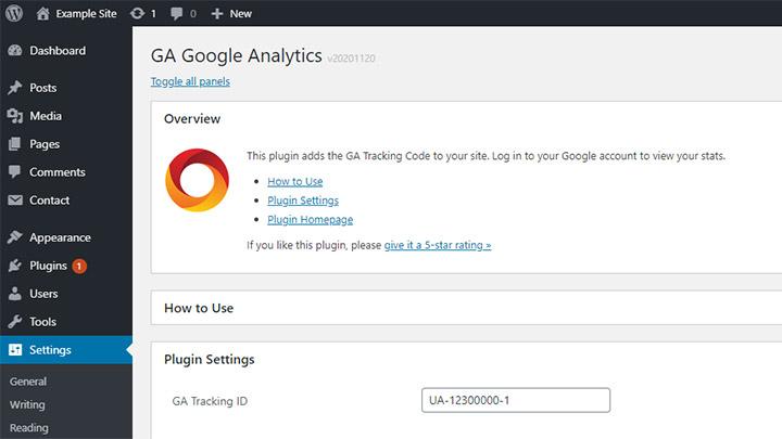 GA Google Analytics WordPress Plugin Settings