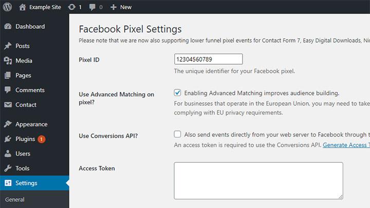 Official Facebook Pixel WordPress Plugin Settings