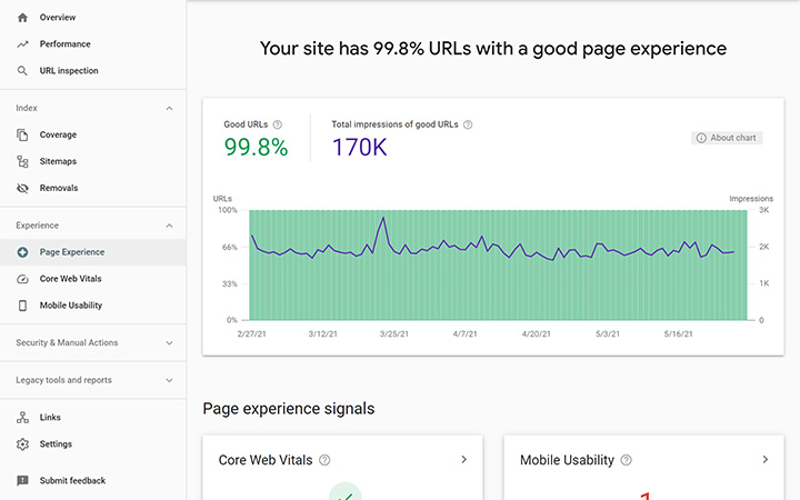 Page Experience Tab of Google Search Console